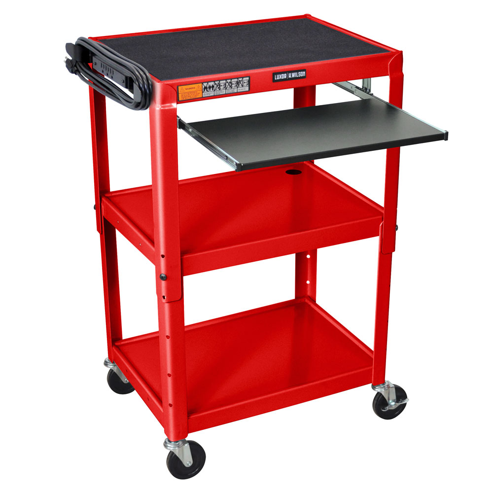 "Luxor Furniture AVJ42KB-RD Utility Cart w/ Pull-Out Keyboard, Adjusts to 42"", 24 x 18"", Red"