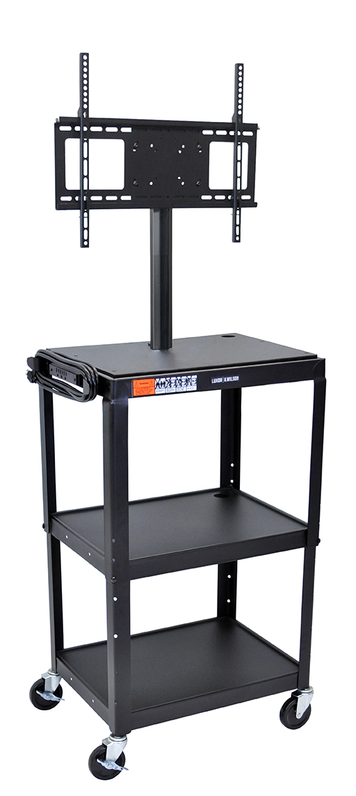 Luxor Furniture AVJ42-LCD Metal Cart w/ 46-in Flat Panel Display Mount, Adjusts to 42-in, Black