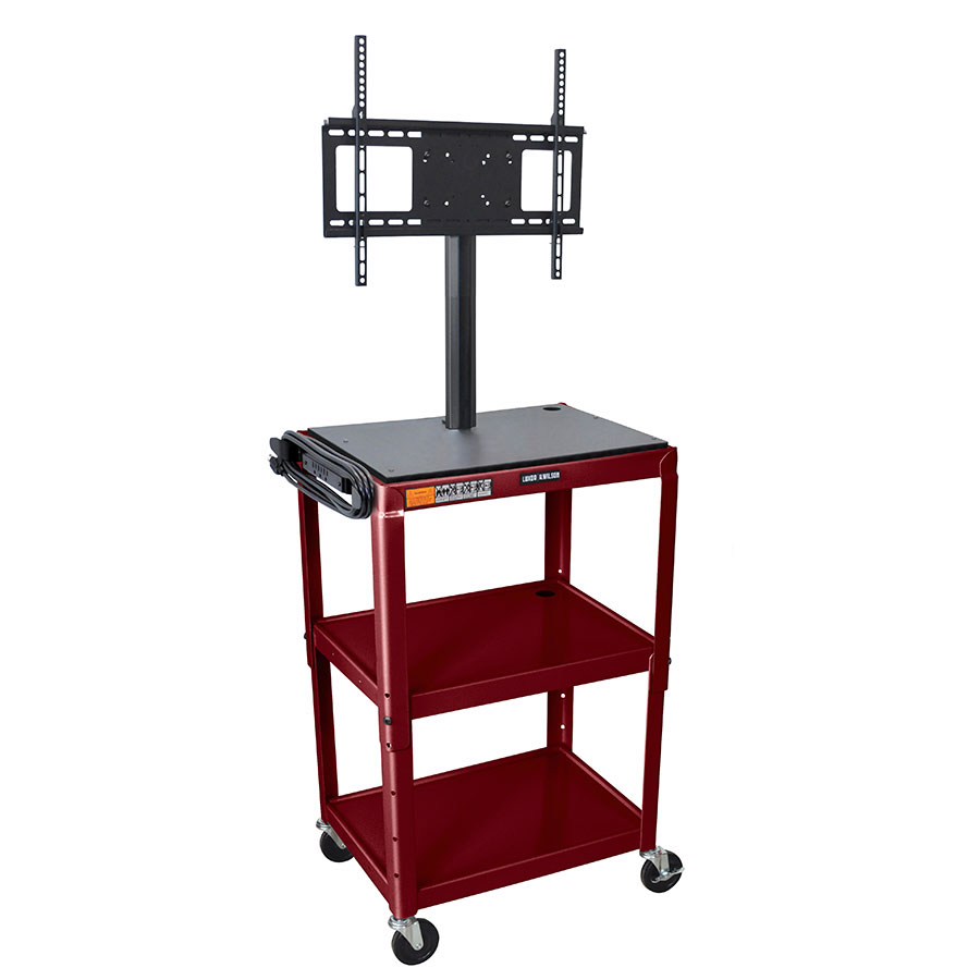 Luxor Furniture AVJ42-LCD-BY Metal Cart w/ 46-in Flat Panel Display Mount, Adjusts to 42-in, Burgundy
