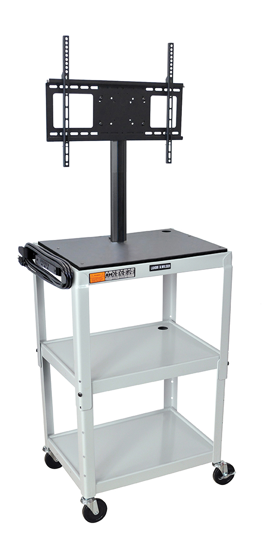 "Luxor Furniture AVJ42-LCD-LG Metal Cart w/ 46"" Flat Panel Display Mount, Adjusts to 42"", Light Gray"
