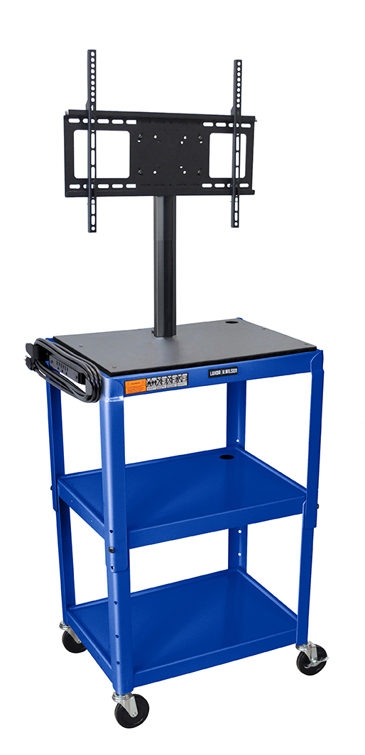 "Luxor Furniture AVJ42-LCD-RB Metal Cart w/ 46"" Flat Panel Display Mount, Adjusts to 42"", Royal Blue"