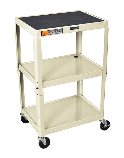 Luxor Furniture AVJ42-OW Utility Cart w/ Locking Brakes, Adjusts to 42-in, 24 x 18-in, Putty