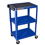 "Luxor Furniture AVJ42-RB Utility Cart w/ Locking Brakes, Adjusts to 42"", 24 x 18"", Royal Blue"