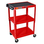 Luxor Furniture AVJ42-RD Utility Cart w/ Locking Brakes, Adjusts to 42-in, 24 x 18-in, Red