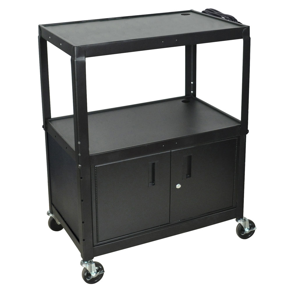 Luxor Furniture AVJ42XLC 3-Level Media Cart w/ 15-ft Cord