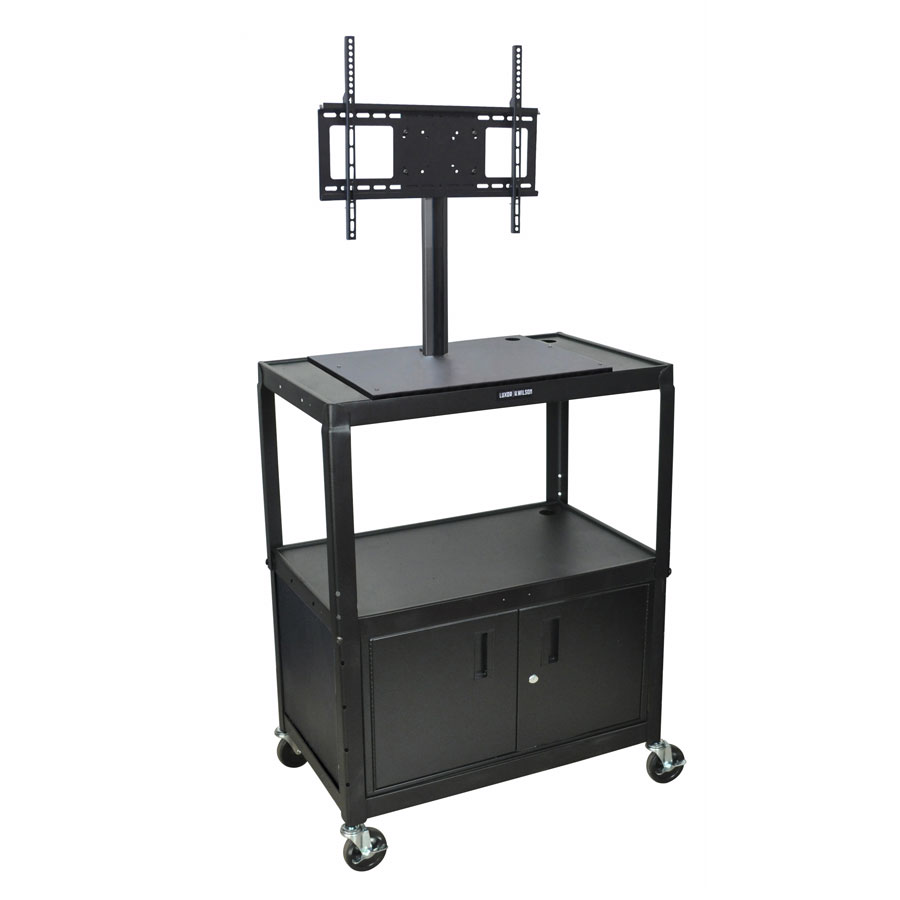 Luxor Furniture AVJ42XLC-LCD Extra Large Metal Cart w/ Display Mount & Cabinet, Adjusts to 42-in H, Black