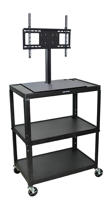 "Luxor Furniture AVJ42XL-LCD Extra Large Metal Cart w/ Flat Panel Display Mount, Adjusts to 42"" H, Black"