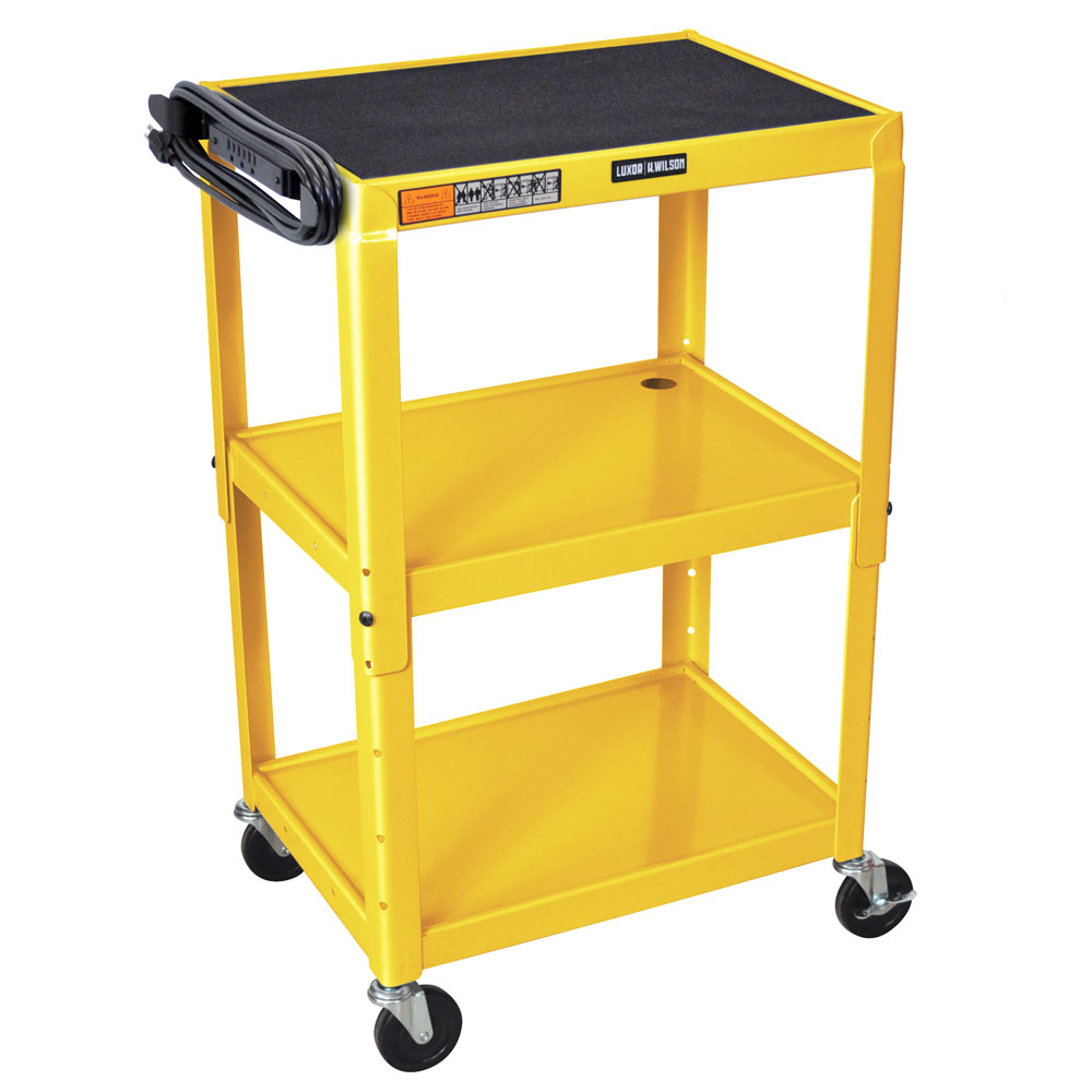 Luxor Furniture AVJ42-YW Utility Cart w/ Locking Brakes, Adjusts to 42-in, 24 x 18-in, Yellow