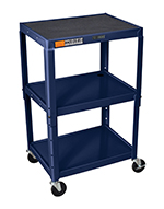 "Luxor Furniture AVJ42-Z Utility Cart w/ Locking Brakes, Adjusts to 42"", 24 x 18"", Navy"