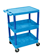 "Luxor Furniture BUSTC211BU Multipurpose Cart w/ 2-Tubs & Flat Shelf, 24x18x36.5"", Polyethylene, Blue"