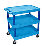 Luxor Furniture BUTC211BU Multipurpose Cart w/ 2-Tubs & Flat Shelf, 32x24x36.5-in, Polyethylene, Blue