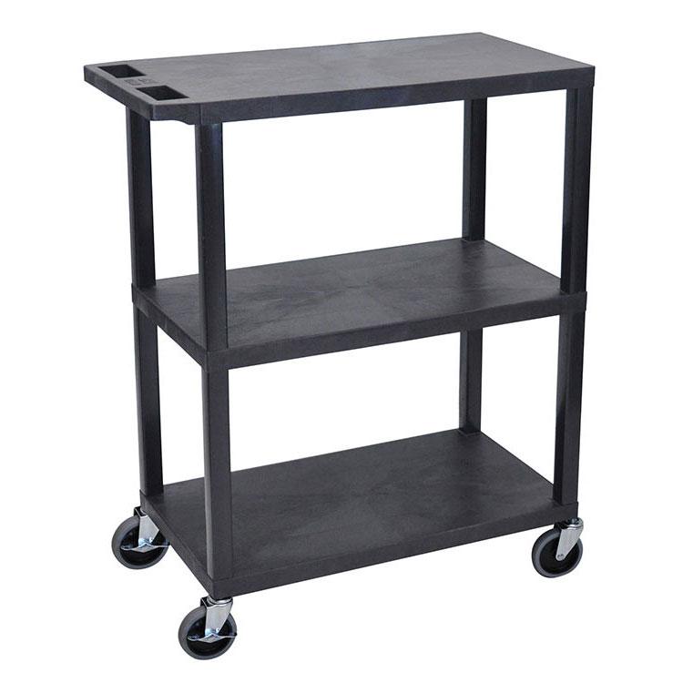 "Luxor Furniture EA42-B 42"" 3-Level Presentation Cart w/ 300-lb Capacity - Plastic, Black"