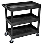 "Luxor Furniture EC111-B Utility Cart - Black, 18x35.24x36.25"", 2 Shelves, 400 lb Capacity"