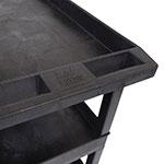 Luxor Furniture EC111-B 3-Level Polymer Utility Cart w/ 400-lb Capacity, Raised Ledges