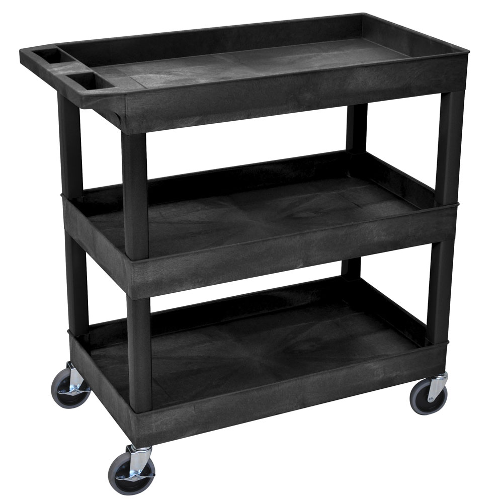 Luxor Furniture EC111-B 3-Level Polymer Utility Cart w/ 400-lb Capacity, Raised Ledges