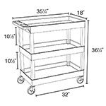 Luxor Furniture EC111-BU 3-Level Polymer Utility Cart w/ 400-lb Capacity, Raised Ledges