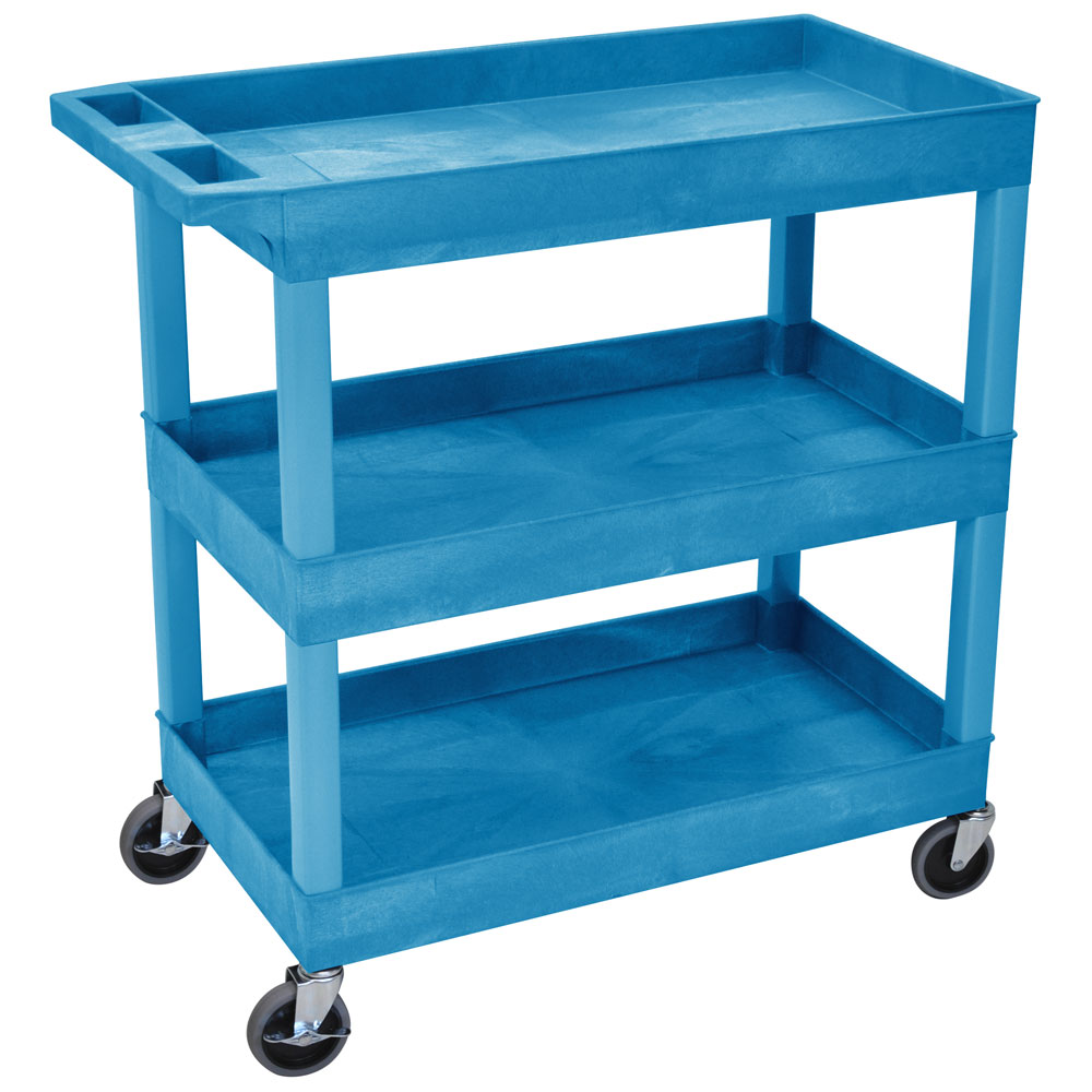 Luxor Furniture EC111-BU 3-Level Polymer Utility Cart w/ 400-lb Capacity, Raised Ledges
