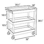 Luxor Furniture EC111-G 3-Level Polymer Utility Cart w/ 400-lb Capacity, Raised Ledges