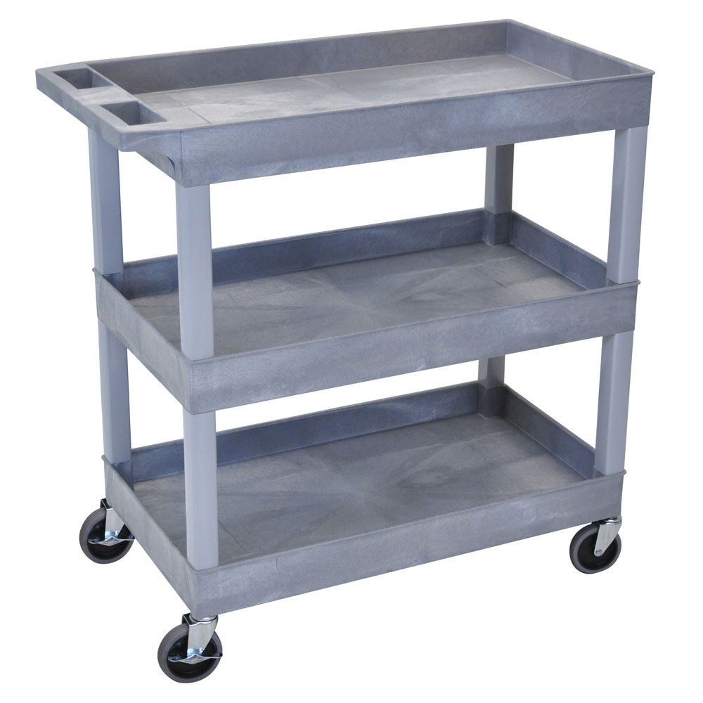 "Luxor Furniture EC111-G Utility Cart - Gray, 18x35.25x36.25"", 2-Shelves, 400 lb Capacity"