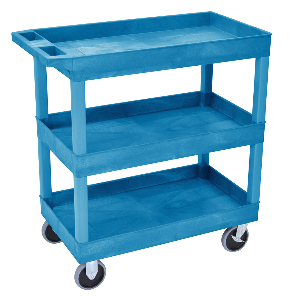 Luxor Furniture EC111HD-BU 3-Shelf Utility Cart, 500-lb. Capacity, Raised Ledges