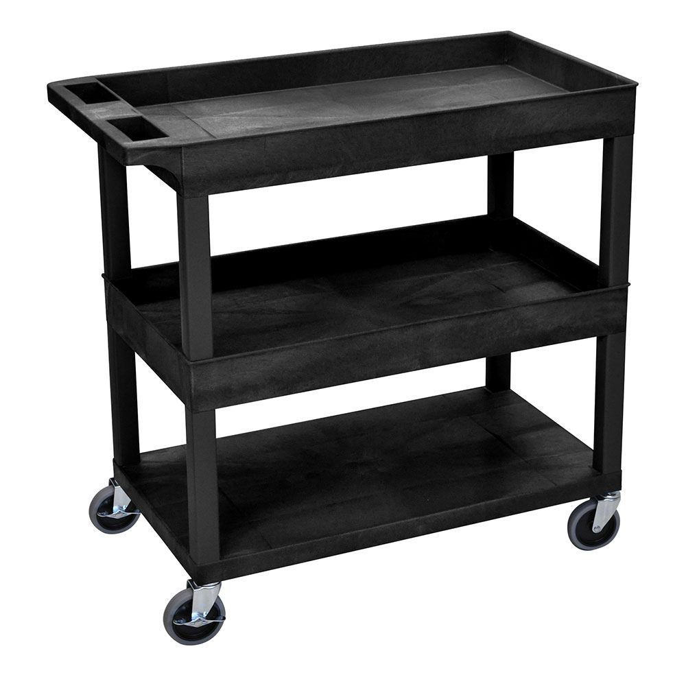 Luxor Furniture EC112-B 3-Level Polymer Utility Cart w/ 400-lb Capacity - Raised Ledges, Black