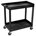 Luxor Furniture EC11-B 2-Level Polymer Utility Cart w/ 400-lb Capacity, Raised Ledges