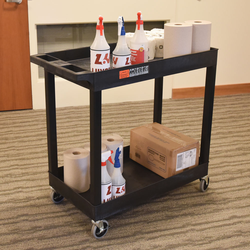 Luxor Furniture EC11-B 2-Level Polymer Utility Cart w/ 400-lb Capacity, Raised Ledges