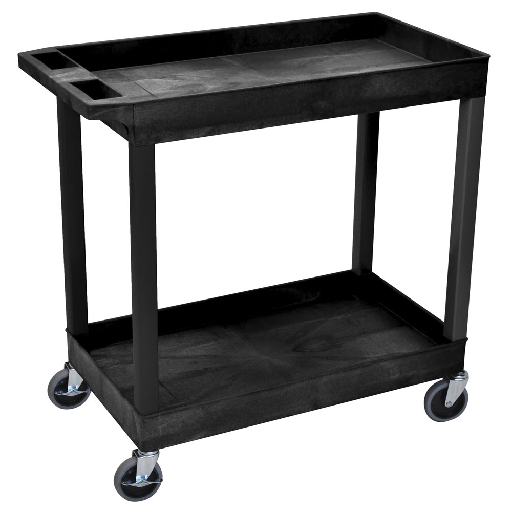 "Luxor Furniture EC11-B Utility Cart - Black, 18x35.5x45.25"", 2-Shelves, 400-lb Capacity"