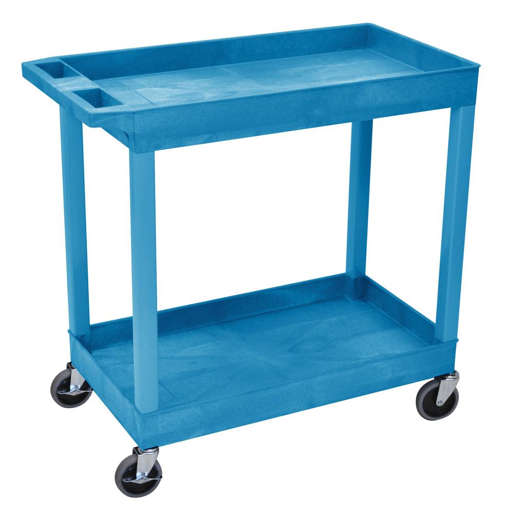Luxor Furniture EC11-BU 2-Shelf Utility Cart, 400-lb. Capacity, Raised Ledges
