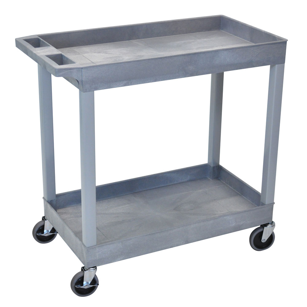 "Luxor Furniture EC11-G Utility Cart - Gray,18x35.5x45.25"", 2-Shelves, 400-lb Capacity"