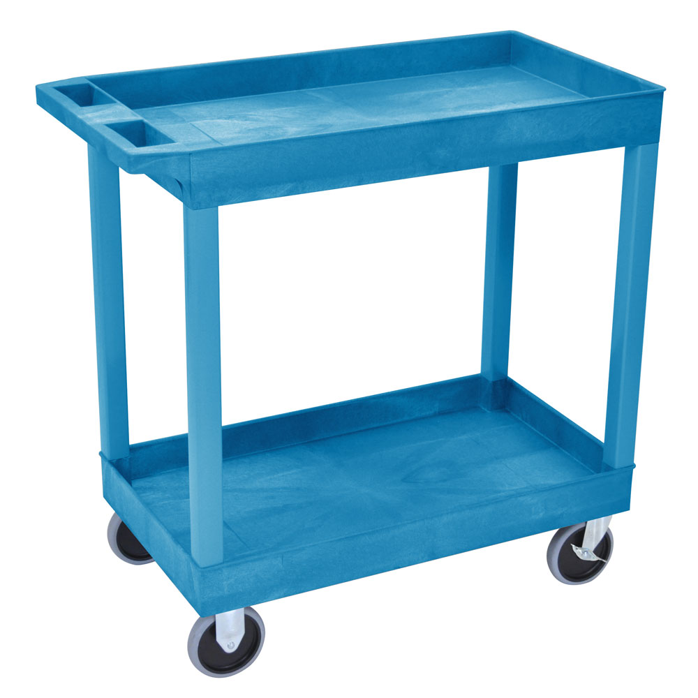 Luxor Furniture EC11HD-BU 2-Level Polymer Utility Cart w/ 500-lb Capacity, Raised Ledges