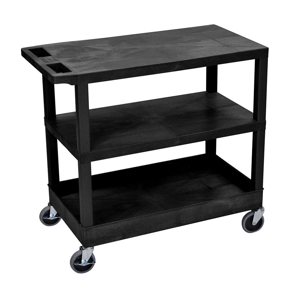 Luxor Furniture EC221-B 3-Level Polymer Utility Cart w/ 400-lb Capacity - Raised Ledges, Black