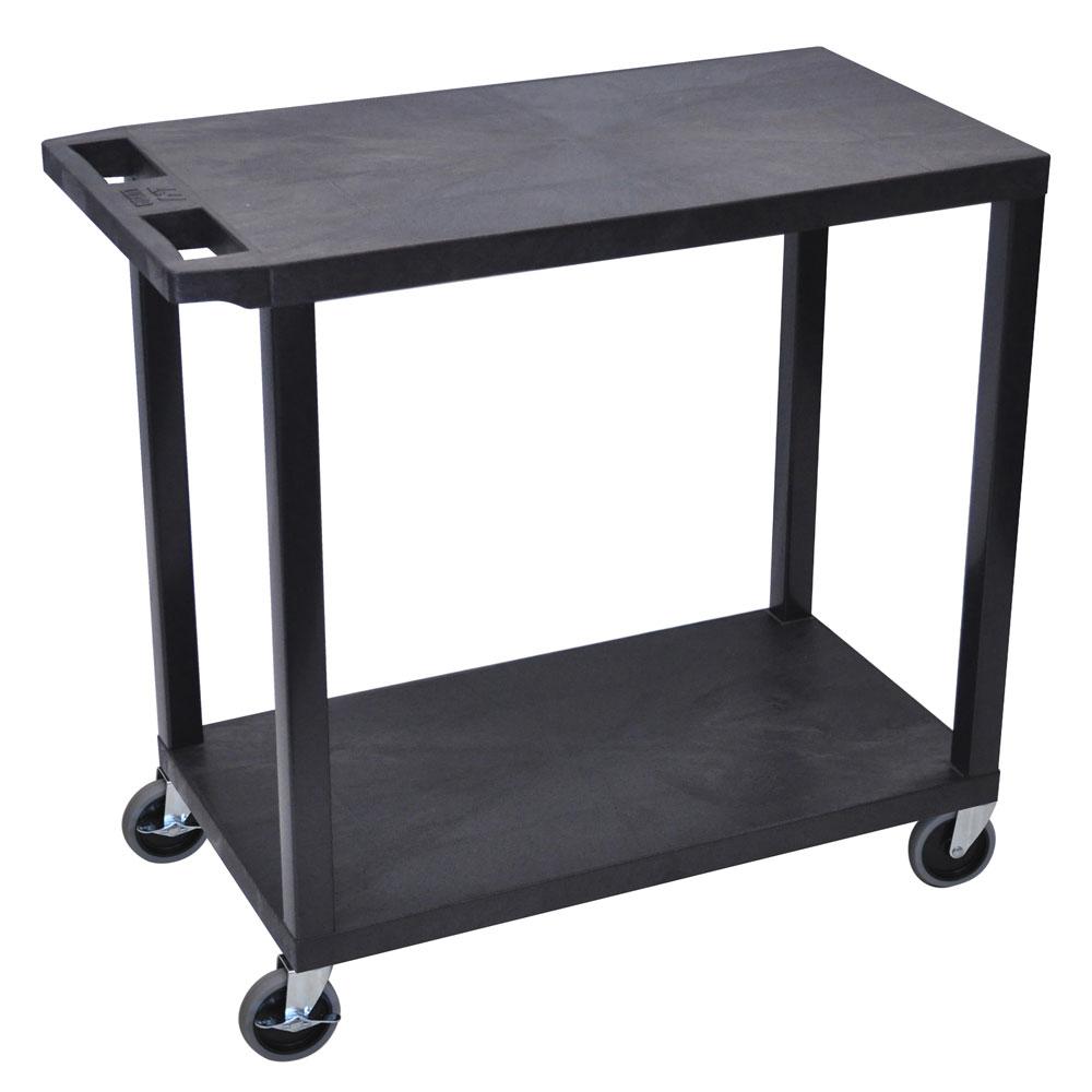 Luxor Furniture EC22-B 2-Level Polymer Utility Cart w/ 400-lb Capacity - Raised Ledges, Black