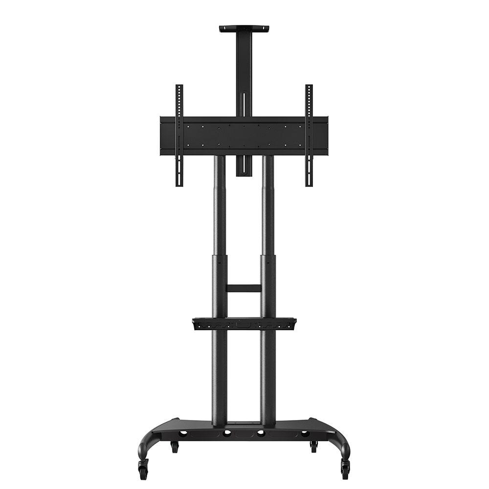 """Luxor Furniture FP4000 Adjustable Rolling TV Stand for 40"""" - 80"""" TV - Steel, Black"""