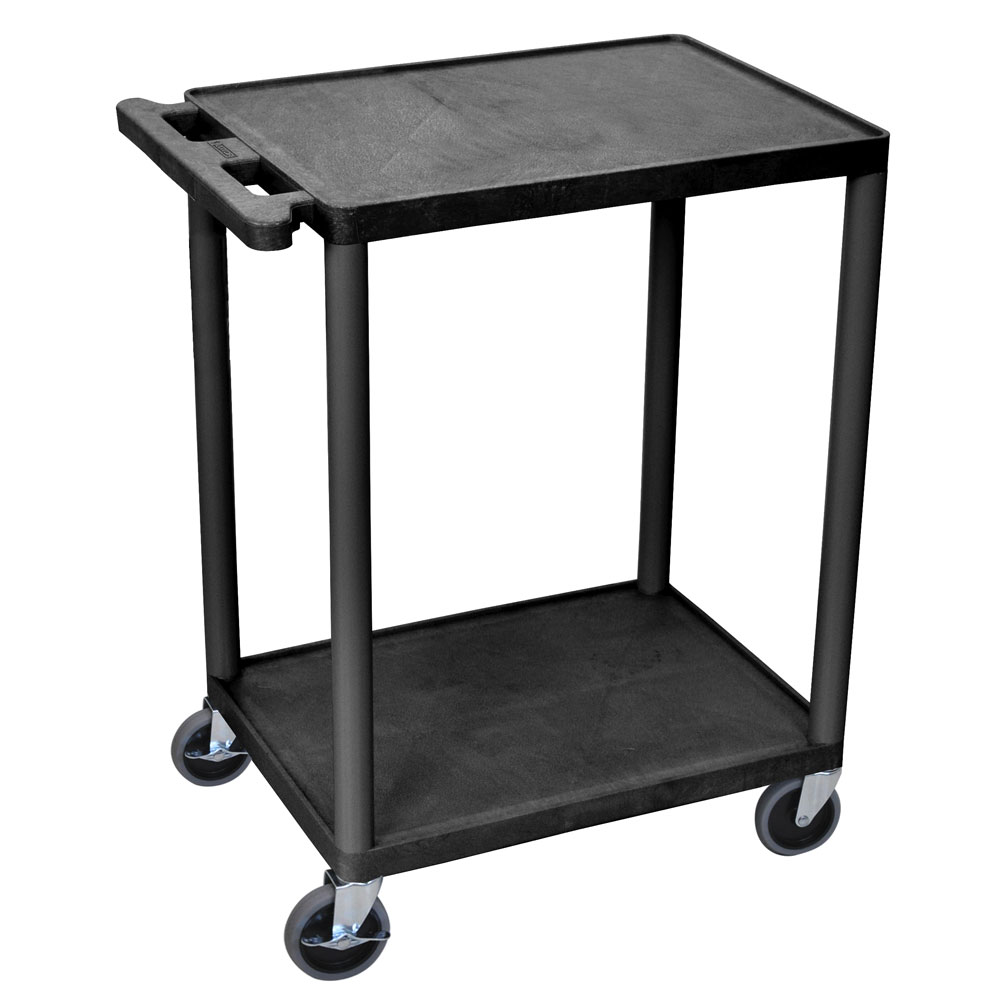 Luxor Furniture HE32-B 3-Shelf Utility Cart w/ Molded Handle & (4) 4-in Casters, Black