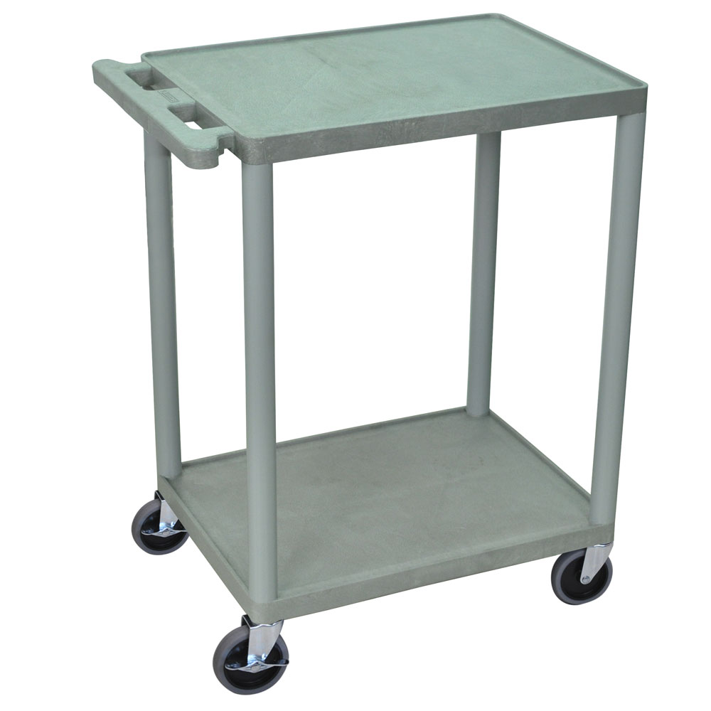 Luxor Furniture HE32-G 3-Shelf Utility Cart w/ Molded Handle & (4) 4-in Casters, Gray