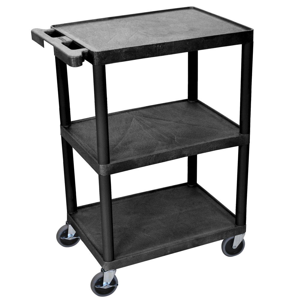 Luxor Furniture HE34-B 3-Level Polymer Utility Cart w/ 400-lb Capacity, Raised Ledges