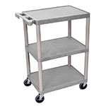 Luxor Furniture HE34-G 3-Shelf Utility Cart w/ Molded Shelves & Legs, 400-lbs, Gray