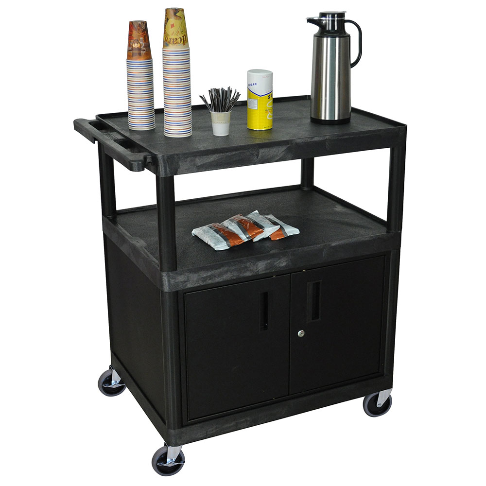 Luxor Furniture HE40C-B Coffee Service Cart w/ Molded Plastic Shelf Steel Locking Cabinet 40.5x32x24-in
