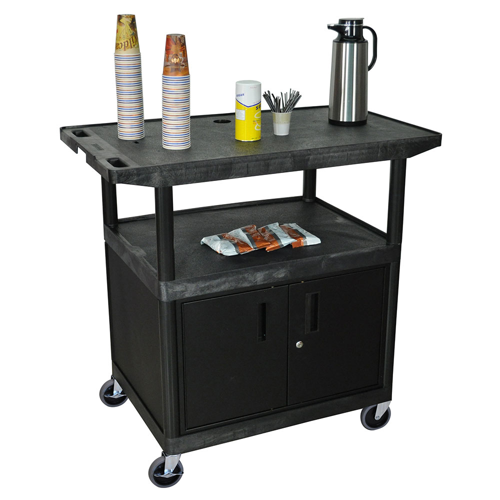Luxor Furniture HE40CWT-B Coffee Service Cart w/ Molded Plastic Shelf Steel Locking Cabinet 40.25x42x24-in
