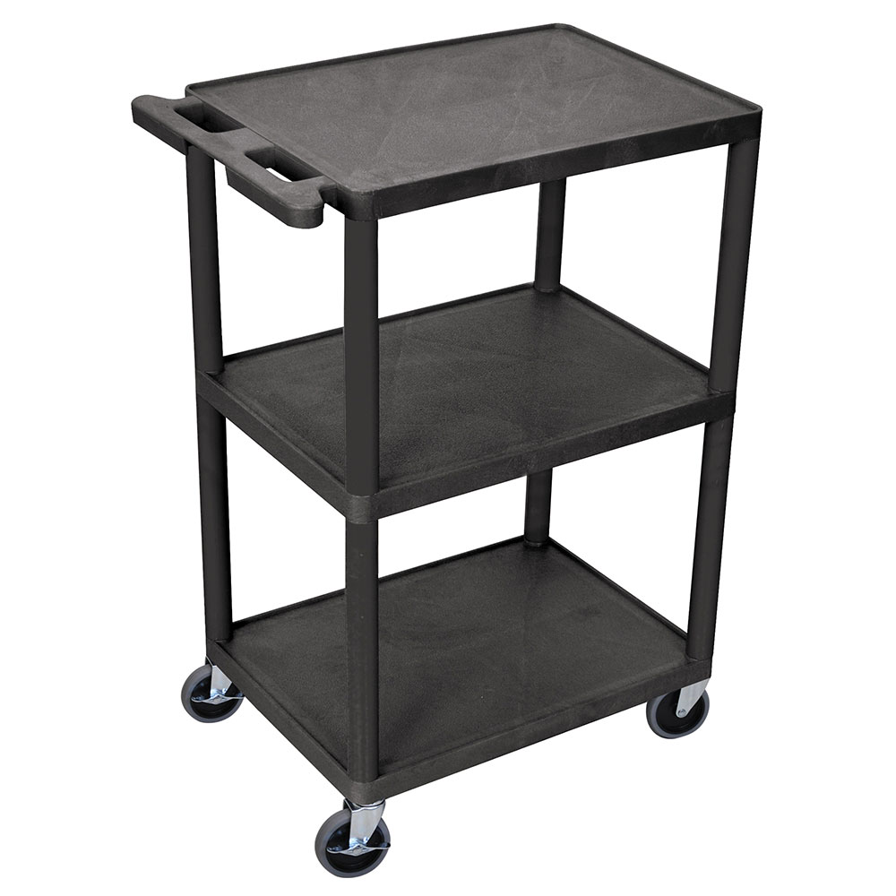Luxor Furniture HE42-B 3-Level Polymer Utility Cart w/ 400-lb Capacity, Raised Ledges