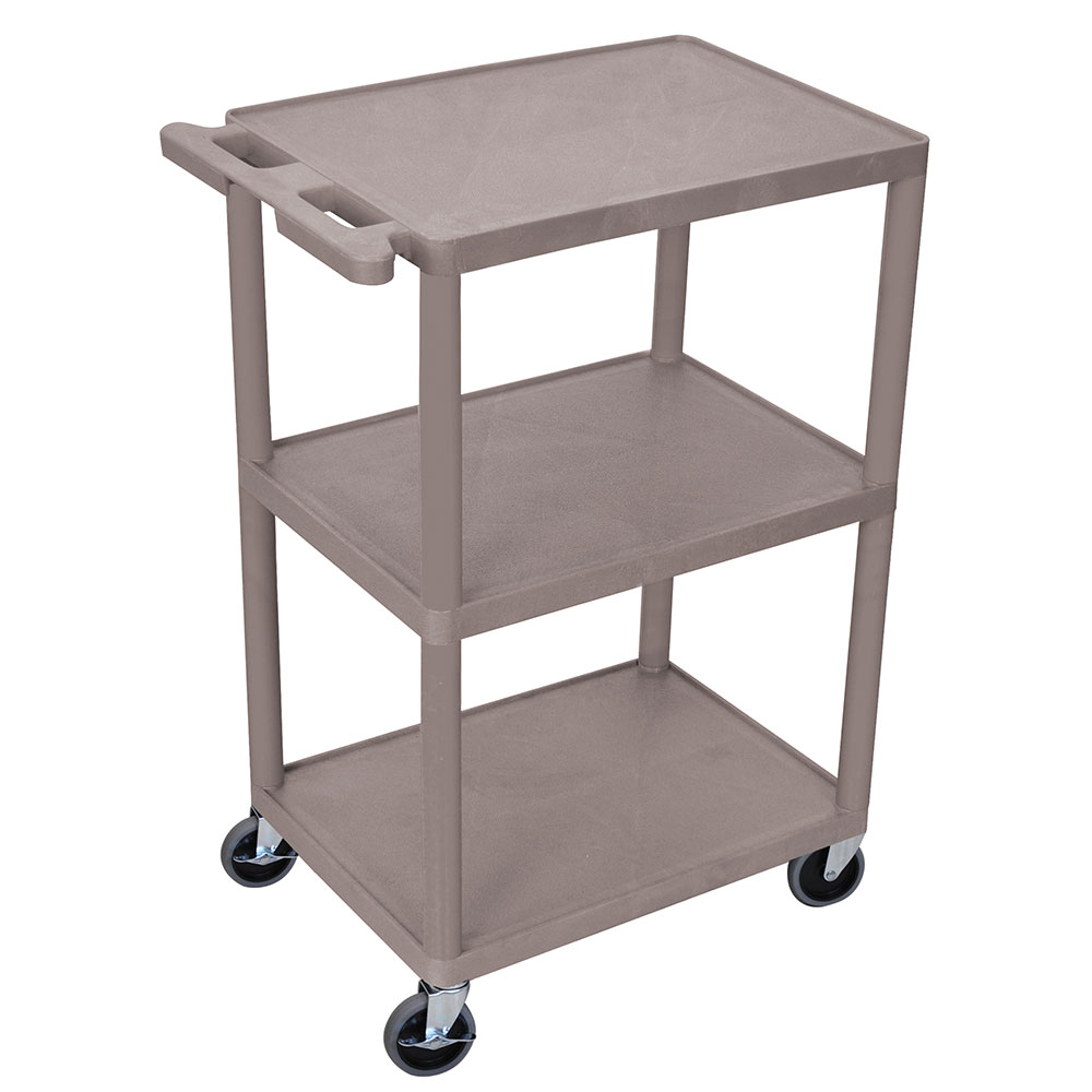 Luxor Furniture HE42-G 3-Shelf Utility Cart w/ Integral Push Handle, 41-in High, Gray
