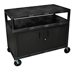 Luxor Furniture HEW335C-B Coffee Service Cart Molded Plastic Shelf Steel Locking Cabinet 38x48x24-in Black