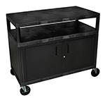 "Luxor Furniture HEW335C-B 48"" Polymer Beverage Service Cart, 24""D x 48""H, Black"