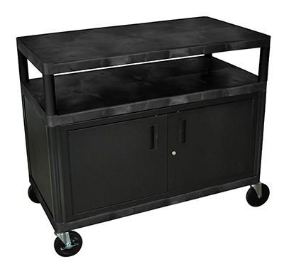 "Luxor Furniture HEW335C-B Coffee Service Cart Molded Plastic Shelf Steel Locking Cabinet 38x48x24"" Black"
