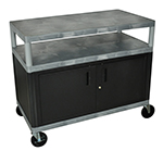 "Luxor Furniture HEW335C-G Coffee Service Cart Molded Plastic Shelf Steel Locking Cabinet 38x48x24"" Gray"