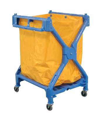 Luxor Furniture HL13 Laundry Cart w Blue Frame & Orange