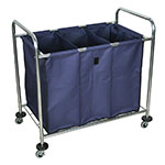 Luxor Furniture HL15 Industrial Laundry Cart w/ Divided Compartments, 36x36.5x2-in, Canvas Bag, Navy