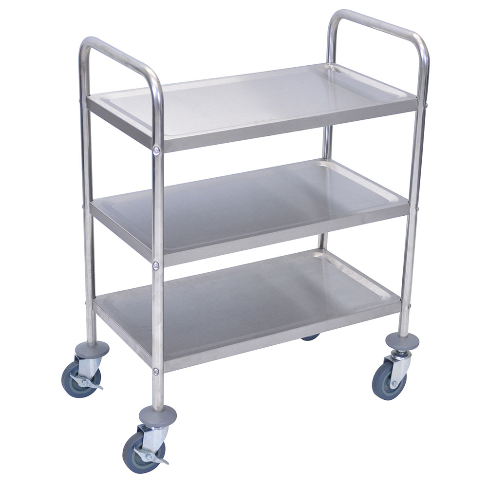 "Luxor Furniture L100S3 Multipurpose Cart w/ 3-Shelves & Rounded Handle, 26 x 16 x 35"", All Stainless"