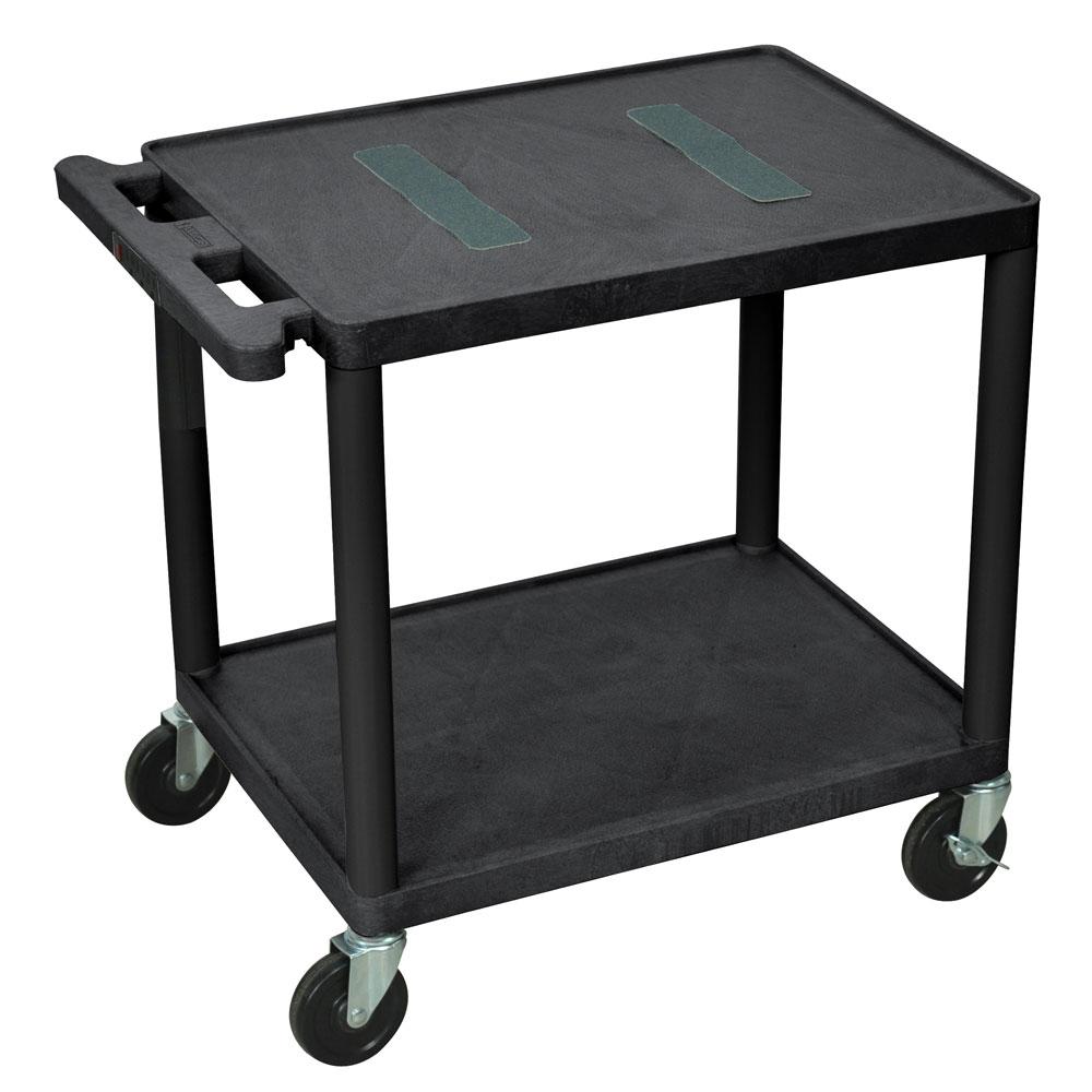 "Luxor Furniture LE26-B 26"" 2-Level A/V Utility Cart w/ 400-lb Capacity - Plastic, Black"